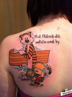 What does calvin and hobbes tattoo mean? We have calvin and hobbes tattoo ideas, designs, symbolism and we explain the meaning behind the tattoo. Calvin And Hobbes Tattoo, Calvin Und Hobbes, Best Calvin And Hobbes, Best Cartoon Characters, Cartoon Character Tattoos, Cartoon Logic, Love Tattoos, Body Art Tattoos, I Tattoo