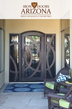 A playful entryway iron door created by Iron Doors Arizona. Wrought Iron Doors, Front Entrances, Curb Appeal, Arizona, Entryway, House Design, Warm, Luxury, Inspiration