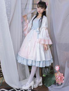 Chinese Style Lolita Dress OP Chiffon Floral Embroidered Ruffles Bow Pleated Aqua Lolita One Piece Dress Harajuku Mode, Harajuku Fashion, Kawaii Fashion, Lolita Fashion, Cute Fashion, Asian Fashion, Estilo Lolita, Looks Kawaii, Cute Dresses