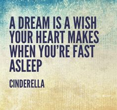 A dream is a wish your heart makes when you're fast asleep - Cinderella
