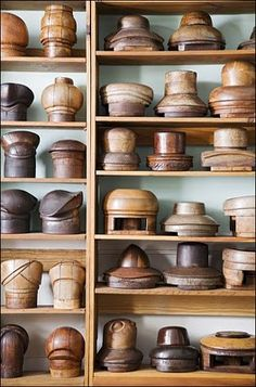 collection of hat blocks ( these are not containers but the wood is so pretty in a collection.