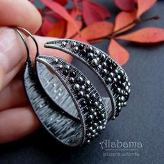 Black rings beautiful silver wire-wrapped earrings with onyx #silverwirerings