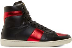 Saint Laurent Black & Red Leather High-Top Sneakers