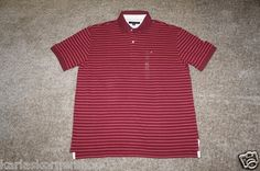 "http://stores.ebay.com/Karlas-Korner-Shop?_trksid=p4340.l2563  New with tags Tommy Hilfiger Mens Stripe Burgundy Polo Shirt Size X Large  Pit to Pit 24 1/2"" and from shoulder to hem 30"" and from back of shoulder to hem 31 1/2""   100% Cotton.    International customers email for shipping cost.    100% Satisfaction Guaranteed, and Fast Shipping."