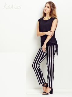 THE DRESS PANT / Take your stripes from horizontal to vertical and elongate the legs in a soft dress pant. Pair back with a keyhole top for effortless day to dinner style. Striped Pants, Stripes, Pairs, Legs, Dinner, Collection, Dresses, Style, Fashion