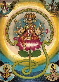 The goddess Gayatri as the Gayatri mantra personified.