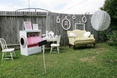 Dress up closet and photo station with vintage settee. This is so cute for a little girl birthday party.  I thought of @Raelynn Earnheart, and @Linsey McNeel