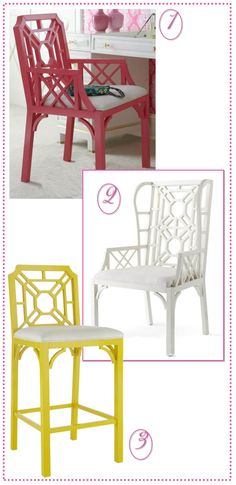 Lilly Pulitzer Style for the Home  1) Boulevard Arm Chair - Pink Salmon  2) Boulevard Wing Chair - Classic White  3) Boulevard Bar Stool - Sunshine Yellow