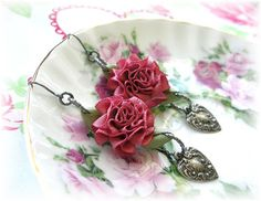 Satin Cabbage Rose Earrings Dangles Hearts by TheVintageHeart 10.00