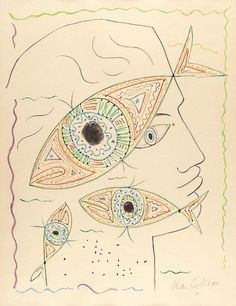 Jean Cocteau (French, 1889-1963) Head with fish motifs, 1957 Coloured lithograph on wove paper, 54 x 42 cm