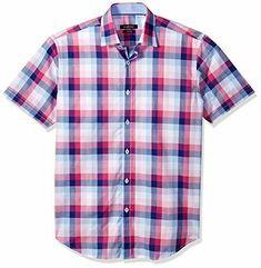 eebd15533d8 Bugatchi Men's Fitted Short Sleeve Point Collar Sport Shirt Gum Drop L # fashion #clothing