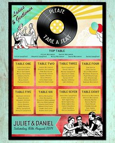 Retro 1950s wedding table plan - great for a 50s theme or jukebox/diner/music theme http://www.toptableplanner.com/blog/50s-hollywood-glamour-wedding-table-plans