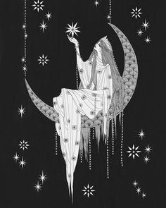 Illustration Art Nouveau Drawings Ideas For 2019 Art And Illustration, Ink Illustrations, Art Nouveau, Nouveau Tattoo, Kunst Inspo, Art Inspo, Drawn Art, Hand Drawn, Moon Goddess