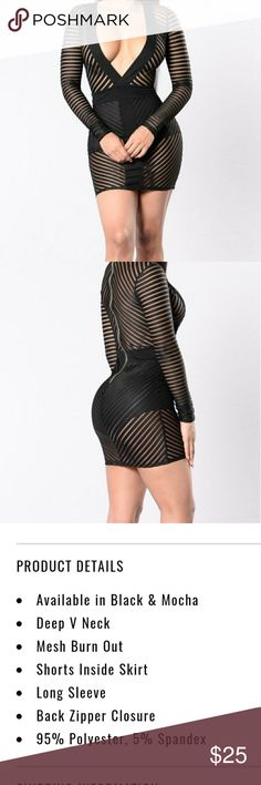 Fashion Nova Warms Your Heart Dress Black sexy This is a hot dress to wear out on the town. Wore it in Vegas. It's long sleeve with a deep v cut. It still looks like new only wore it once. Fashion Nova Dresses Mini