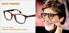 Amitabh Bachchan looks great in his trendy and chic glasses!  Get the similar Big B look with these 'Boss' eyeglasses: http://www.gkboptical.com/bossorange-bo0023-frame-br-0-hb359br49