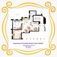 Chandler and Joey's Apartment Floor-Plan (Friends)