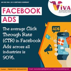 The Average Click Through Rate (CTR) in Facebook Ads across all industries is 90% .   For more details: Call - +91-8953507070 vivamarketing9@gmail.com  Office : Office No 6, 2nd Floor, Metro Plaza, Vivek Khand, Gomti Nagar, Lucknow (Near Nidan Diagnostic Centre) ---------------------------------------------------------------- #DigitalCreativeAgency #BrandAgency #VIVA #DigitalMediaMarketing #SocialMediaMarketing #Mobile #socialmediatrends #SocialMedia #Business #Startups #Leadership #Sales… Digital Media Marketing, Social Media Marketing, Digital Creative Agency, Social Media Trends, 2nd Floor, Startups, Leadership, Centre, Ads