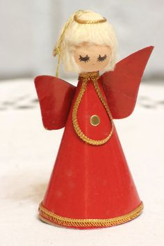Vintage Japan Christmas Angel Ornament Spun Head Red by CabinOn6th