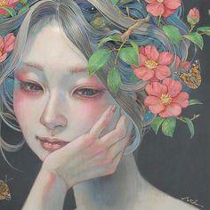 想いの華(部分)2016 #mihohirano  #oilpainting  #装飾 #みうらじろうギャラリー #椿 #camellia #平野実穂