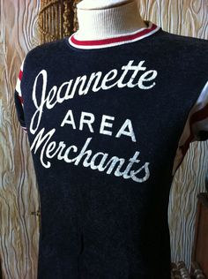 Vintage Women's Jeannette Area Merchants Sports Striped Sleeve T-Shirt Sports Jersey 1950s by vintagebaron on Etsy
