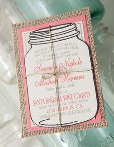 Rustic Wedding Invitations- mason jar invite