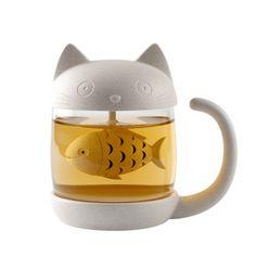 Cat Glass Tea Mug Filter Cup with Fish Tea Infuser Strainer Home Office Drinkware Coffee Milk Mug Creative Birthday Gifts Tea Strainer, Tea Infuser, Cat Lover Gifts, Cat Gifts, Gifts For Cats, Pet Lovers, Tumblers, Tea Brewer, Tea Time