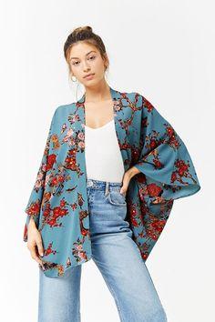 Floral Print Open-Front Kimono - Women - New Arrivals - 2000264271 - Forever 21 Canada English Quirky Fashion, Boho Fashion, Fashion Design, Fashion Trends, India Fashion, Japan Fashion, Street Fashion, Abaya Fashion, Kimono Fashion