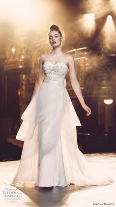 paloma blanca fall 2016 bridal strapless sweetheart neckline heavily embellished…
