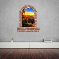 Tree Sun set brick wall sticker and decals. Wall Stickers, Decals, Window Wall, Brick Wall, Windows, Sunset, Wall Clings, Sunsets, Wall Decals