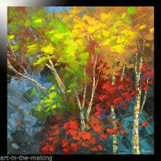 Painting Impasto Knife Birch Woods Forest Original Autumn Fall Trees Art Tatiana   eBay