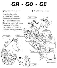 Ca co cu (So tutto - Ed. Italian Grammar, Italian Language, Learning Spanish For Kids, Learning Italian, Reading Worksheets, Vocabulary Worksheets, How To Speak Italian, School Template, Italian Lessons