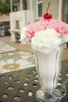 Malone Street Studios | celebrate life's moments – a vintage inspired ice cream social | carnation sundae arrangement