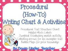 FREE 25 page Procedural How-To Writing Chart and Activities.