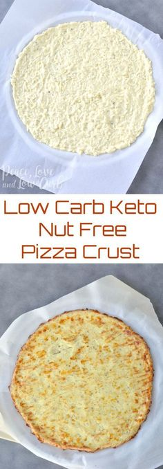 Low Carb Keto Nut Free Pizza Crust via @PeaceLoveLoCarb