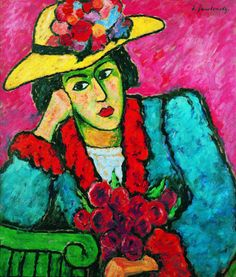 """Alexej von Jawlensky """"Lady in a Yellow Straw Hat"""", 1910 (Russia / Germany, Expressionism, cent. Franz Marc, Wassily Kandinsky, Figure Painting, Painting & Drawing, Cavalier Bleu, Expressionist Artists, Social Art, Arte Popular, Art Abstrait"""