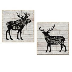 """Rustic Forest Elk and Moose """"Outdoor Life Is Best"""" and """"My Heart Lies In The Woods"""" Set by Sue Schlabach; Cabin Lodge Decor; Two 12x12in Unframed Paper Posters (Printed on Paper, Not Wood)"" #rusticcabindecor"
