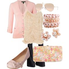 Gorgeous pink-on-pink outfit.  Love the whole thing.  :-)