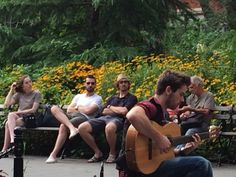 Does that girl even realize who she's sitting next to?? ~   RA & Lee Pace in Washington Square - New York City, 3 August 2014