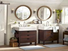 Alluring Twin Pedestal Sink Storage with Wooden Cabinet also Rounded Mirror