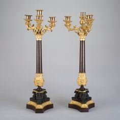 Par de candelabros Franceses em bronze patinado e gilded a ouro do sec.19th, 60cm de altura, 8,880 USD / 8,060 EUROS / 33,530 REAIS / 57,780 CHINESE YUAN soulcariocantiques.tictail.com
