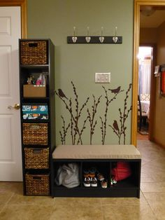 Entry organization- could put tall shelf on other side and have this on the wall behind entryway under the peekaboo cutout in wall. Entry Organization, Organizing, Backpack Organization, Bench Decor, Diy Casa, Apartment Living, Living Room, Mudroom, Home Projects