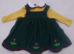 Vtg Baby Girl Dress 12M Yellow Ribbed Shirt Green Corduroy Jumper Flowers #Unbranded #DressyEveryday