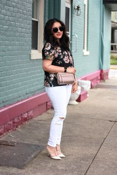 floral top + white jeans + rockstuds [spring outfit]