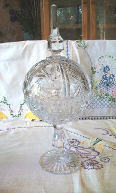 Crystal Candy Dish with Top | Large Crystal Candy Dish, Lead Cut Crystal, Pinwheel Design, Globe ...