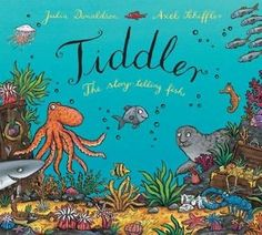 'Tiddler' by Julia Donaldson is another fantastic fishy tale. It tells the tale of a teeny-weeny fish who likes to tell tall tales! He maybe just alittle fish, but hehas abig imagination & loves to dream! One day his dreaming gets him lost, what story will Tiddler tell next?Luckily his tales help him get back home. A book full of fun rhyming magic!