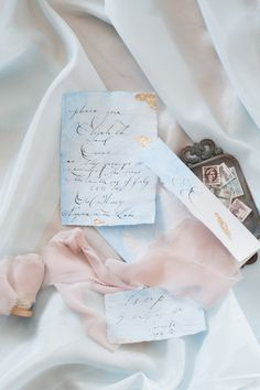 Blush + blue vintage invitation suite: http://www.stylemepretty.com/canada-weddings/ontario/niagara-on-the-lake-ontario/2016/05/02/all-the-inspiration-you-need-for-your-jasmine-filled-wedding/ | Photography: Gemini Photography - http://geminiphotographyontario.com/