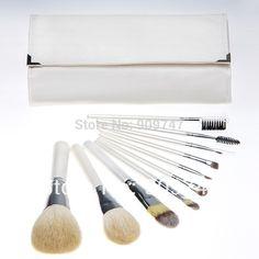 6d3cc2afd3e 10 PCS 10pcs Pro Cosmetic Brush set Make up Brushes Kit goat hair white makeup  brush set tools with pu case Free Shipping