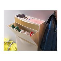 IKEA TRONES Shoe/storage cabinet + wooden top = nightstand and phone/electronics storage