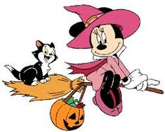 halloween clip art - minnie mouse pink witch with a kitten riding on broom tail