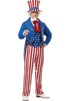 Uncle Sam USA Icon Men's Costume wants you. this Halloween! Jacket with attached vest, pants, hat and necktie. This Uncle Sam USA Icon Men's Costume is ideal for any Halloween party! Patriotic Costumes, Holiday Costumes, Halloween Costumes, Halloween Club, Halloween Parade, Trendy Halloween, Halloween 2016, Halloween Ideas, Usa Costume